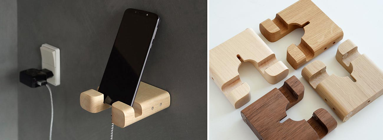 Mobilholder og iPadholder, det er dansk produceret mobiltilbehør i træ